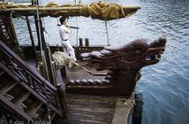 deep culture of Vietnam, Ha Long Bay, UNESCO World Heritage site, wooden junk with dragon prow