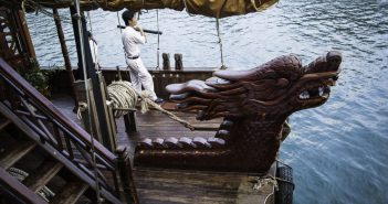 diverse culture of Vietnam, Ha Long Bay, UNESCO World Heritage site, wooden junk with dragon prow