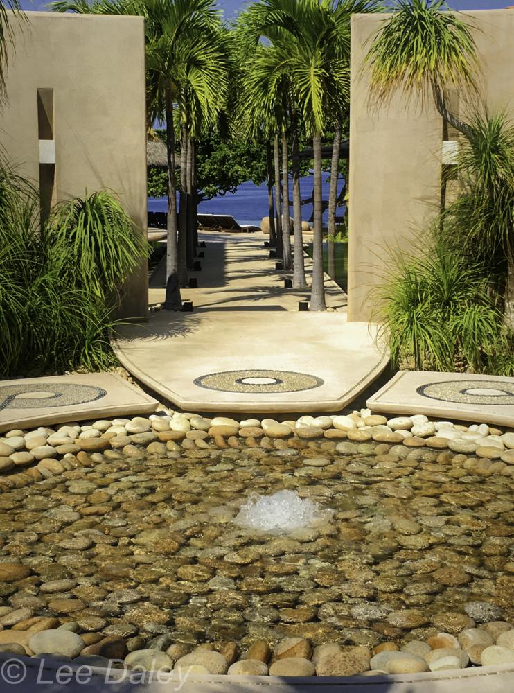 Casa Majani fountain, entry, walkway, infinity pool