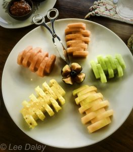 Breakfast fruit plat with preserves