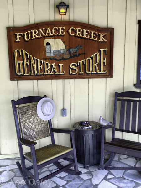 Furnace Creek General Store, Death Valley National Park, CA,one of the few places in the Death Valley whee you can pick up food and drinks to take in the car with you. Notice the little pigeon who stopped by to say hello.