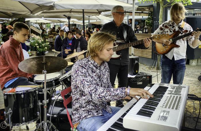 Free music concerts, Torvehallerne Food Court. Copenhagen, Denmark