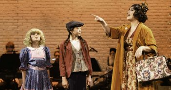 """Mother Rose pushing her two daughters in """"Gypsy"""" the play now at Alcazar Theater, San Francisco, California"""
