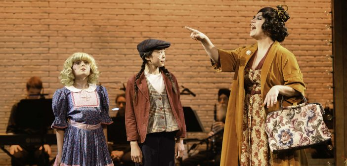 "Mother Rose pushing her two daughters in ""Gypsy"" the play now at Alcazar Theater, San Francisco, California"