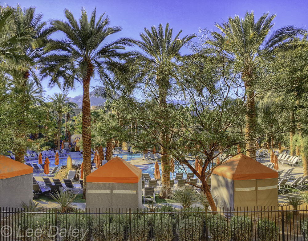 Palm Springs, Two Bunch Palms Resort Spa, mineral waters, Essence Restaurant, outdoor massage, yoga studio, desert resort, health spa.