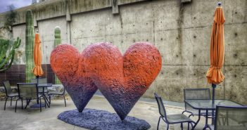 Palm Springs, Heart sculptures at the Palm Springs Art Museum patio, Palm Springs indulges the Senses.