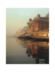 Varanasi: On the Banks of the Ganges, sacred river, Ganges River, Ghats, Assi Ghat, IndiaMorning reflections on the Ganges
