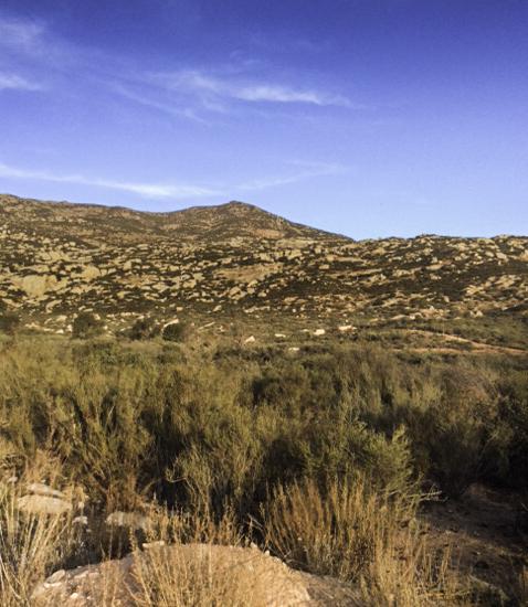 La Cocina Que Canta, mountain view with chapparal