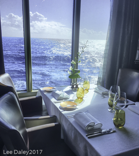 Dinner at Sea with Holland America Line, water view window table, sea view