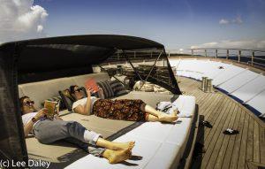 Katarina Cruising Comfort on Deck.Brac Island. Croatia: Sun, Sea and Stone,Dalmation Coast, Adriatic Sea, Cruising the Dalmatian Islands,