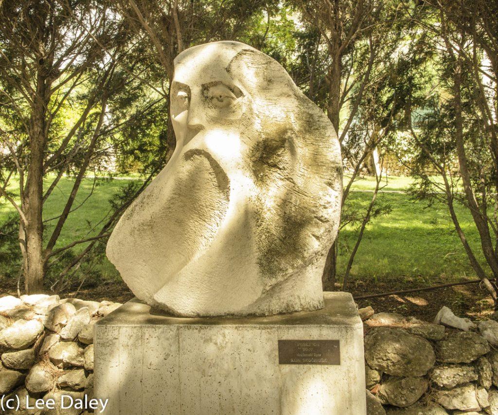 Brac Island. Croatia: Sun, Sea and Stone, outdoor sculpture, Bol sculpture, Bol promenade walk, limestone bust, Bol outdoor sculpture garden, Bol artwork