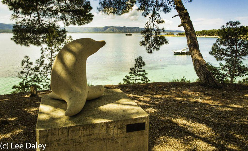 Brac Island. Croatia: Sun, Sea and Stone, Sea Lion looking out to sea, Bol promenade, Bol outdoor sculpture garden