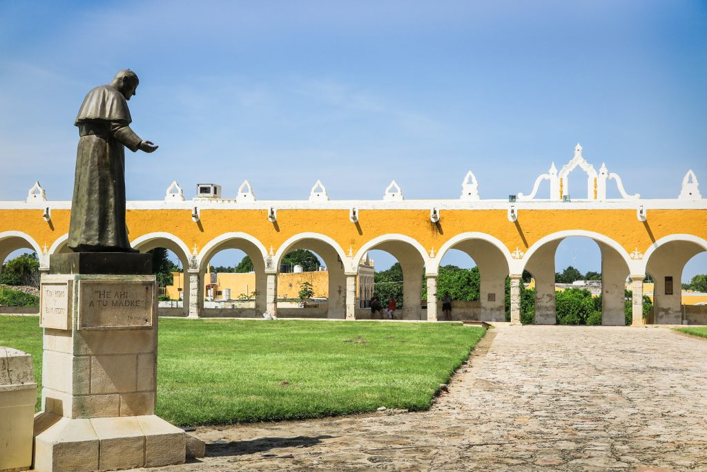 "San Antonia de Padua Monestary. Pope John Paul visited in 1993. 75 arches. So loved, he is called Papa Mexicano, even a song named for him because en route, he wore a sombrero and serape. All the representatives of Indian inc'g Inuits. """"And I ask you to pardon what we did in the name of the Cross."",Mexico's Yucatan: Deep into Mayaland with Victory Cruise Line"