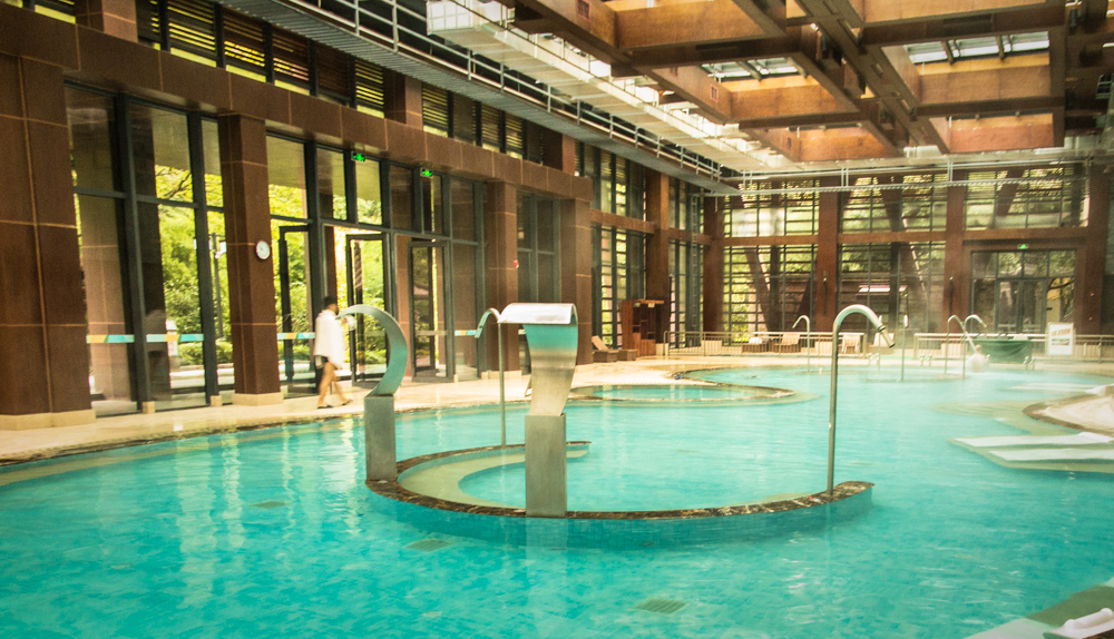 Gateway to China's Three Gorges, Tong Jing Hot Springs Resort restores.Indoor large therapeutic hot springs pool.