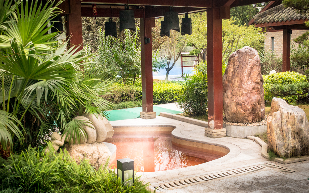 Gateway to China's Three Gorges, Tong Jing Hot Springs Resort restores.hot springs soaking pool, natural mineral water