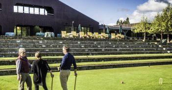 Chardonnay & croquet, Croquet lawn, Sonoma-Cutrer Vineyards, Russian River, Sonoma County, Windsor, CA