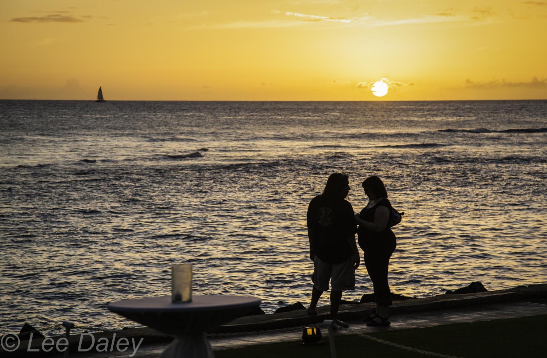Romantic Kauai, Hawaii's Garden Isle. Sunset as seen from Lawai Beach