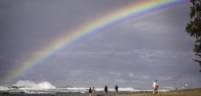 In Kauai, a bumper crop of food trucks, rainbow over the ocean, beach combing on Kauai's north shore