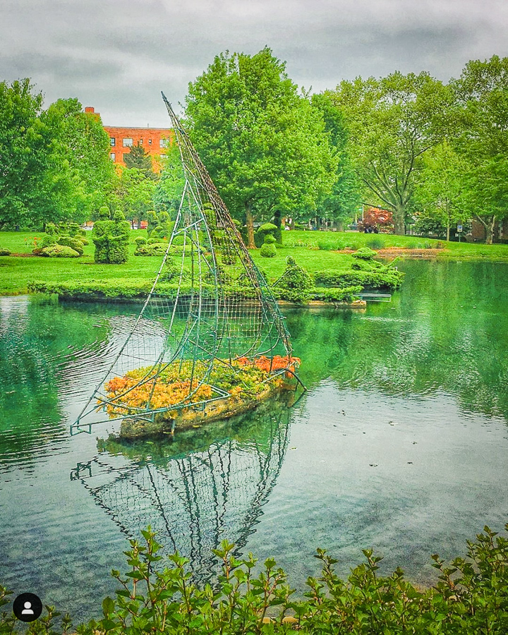 Topiary boat at Topiary Park, Columbus, Ohio, pond represents River Seine in Seurat Painting.