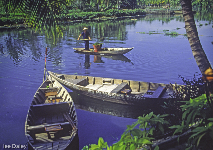 diverse culture of Vietnam, Hoi An river boats and fisherman, staing at the Hoi An Riverside Resort,